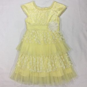 Jona Michelle, Kids Yellow/White Lace Dress size 7